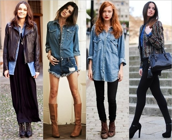 wearing denim shirts